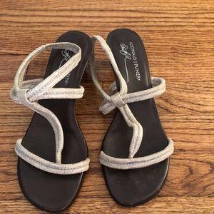 Silver sandal heels.